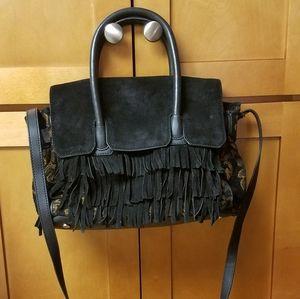 Sam Edelman Suede Fringe Crossbody Satchel Bag